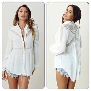 Lulumari Lace Button Blouse Free People Inspired L