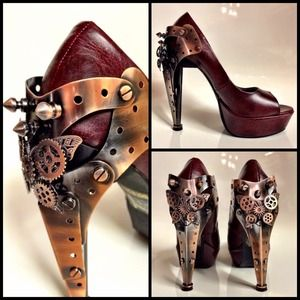 Steampunk METROPOLIS Ruby Red Leather Heels Shoes