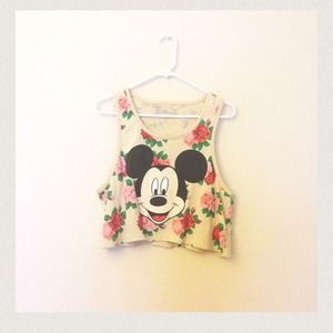 9874a5aae29 Tops | Sold On Vintedfloral Mickey Mouse Crop Top | Poshmark