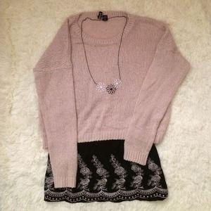 Dresses & Skirts - outfit bundle nude sweater black embroid dress