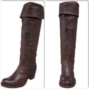 Frye Tall Over Knee Fold Over Brown Campus Boots
