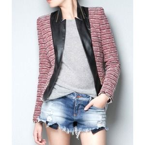 Zara Jackets & Blazers - 🆕⬇️Zara Tweed With Leather Collar Jacket