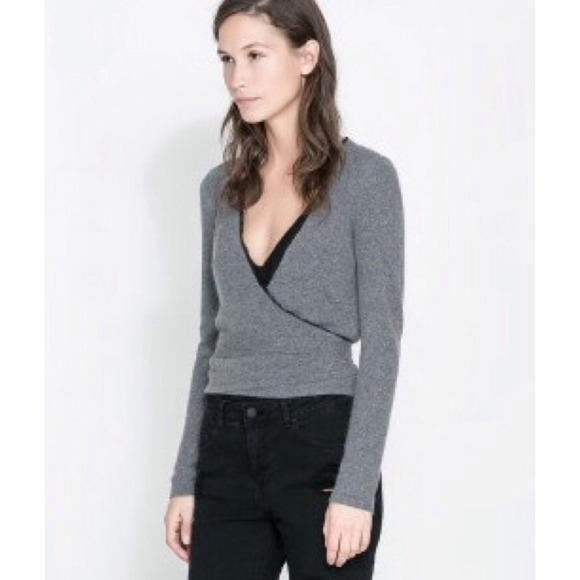50% off Zara Tops - ⬇️HP🎉Zara Grey Ballerina Wrap Cardigan from ...