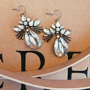 Authentic J. Crew Crystal Fan Chandelier Earrings