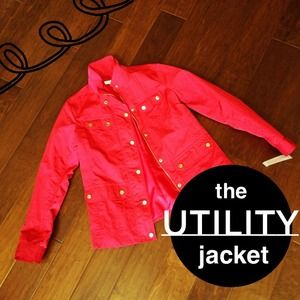 Charter Club Jackets & Blazers - NEW Bright Red Utility Jacket