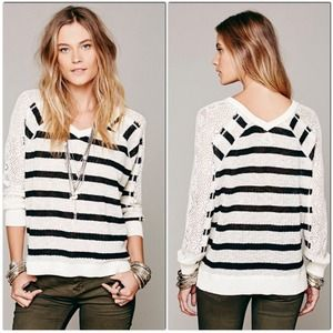 NWT Free People Fluffy Swit Lou Striped Sweater S