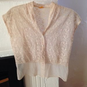 VINTAGE sheer pink lace top