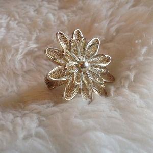 Silver Mesh Flower Ring
