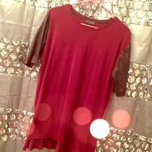 Burgundy T-Shirt w/ Faux Leather Sleeves