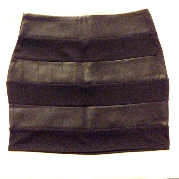 Forever 21 Dresses & Skirts - Brand NEW* Forever21 black skirt w leather details