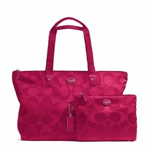 NWT Coach Signature Packable Weekender fushia OBO