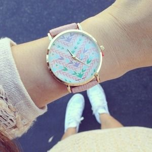 Accessories - NEW Pink Aztec Print Watch