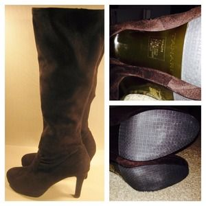 TAHARI Brown Microfiber Knee High Tall Heel Boots