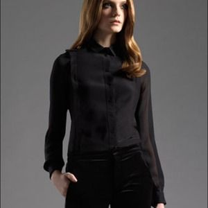 Gucci Black Epaulette Silk Shirt.  44/8 NWT