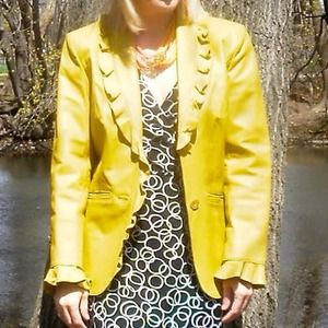 Jackets & Blazers - Chartreuse green ruffled leather jacket blazer