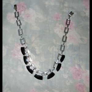 STERLING & ONYX DECO LINK NECKLACE
