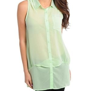 Mint green sheer collared crystal top