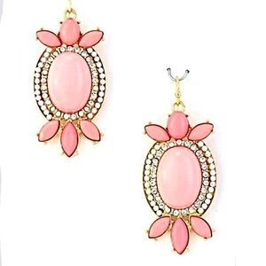 Light Pink w/Bling Oval Statement Earrings