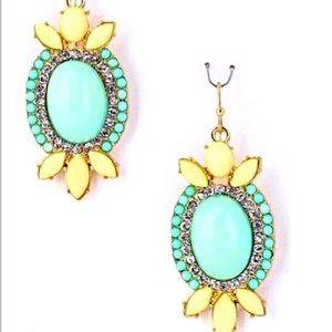Mint & Yellow w/Bling Oval Statement Earrings