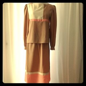 Vintage Color Block Top & Skirt