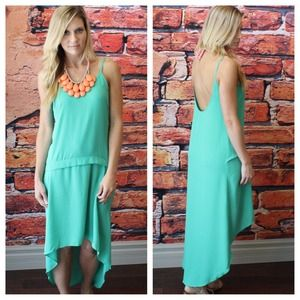 Beach ready Kelly green low back high low dress