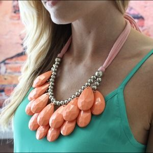 Peachy coral large ribbon teardrop necklace