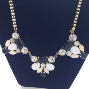 Black, cream and peach statement necklace. New.