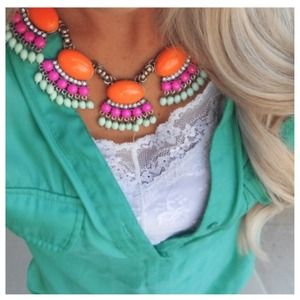 Orange fan fringe necklace