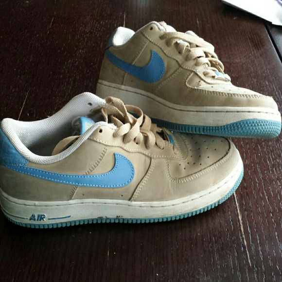 Tan and baby blue air force ones