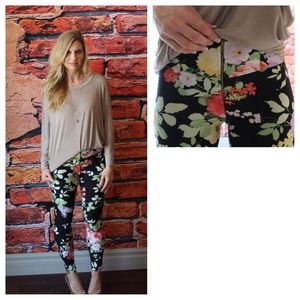 Zipper detail floral knit leggings