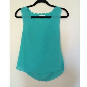 Mine Tops - Mint colored scalloped neck blouse