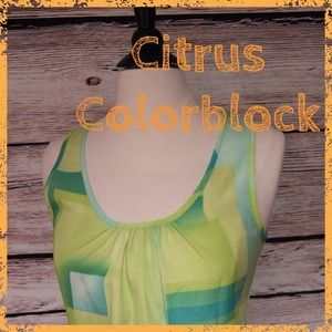 Josephine Tops - Josephine Summer Lime Citrus Colorblock tank top