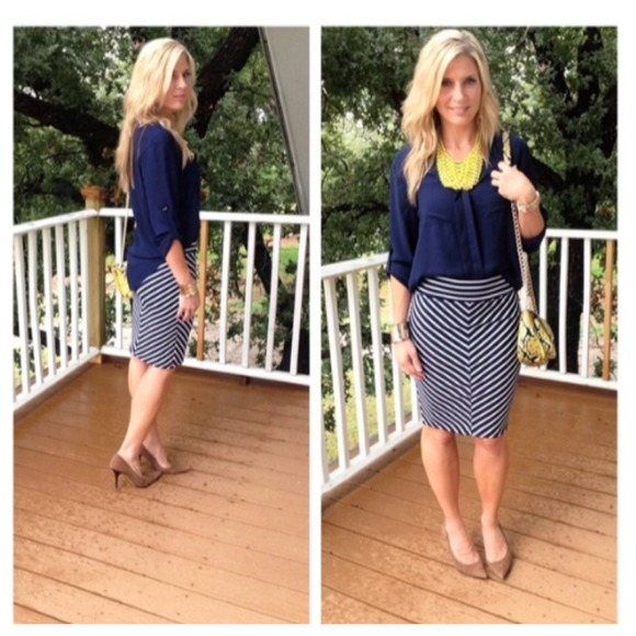 28% off Dresses & Skirts - Navy and white striped pencil skirt ...