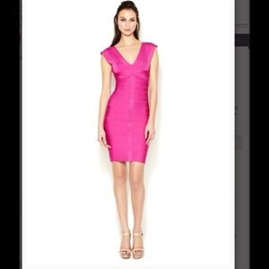 Herve Leger Dresses & Skirts - NWT Herve Leger pink V neck Elise dress size small