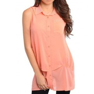 Itro Tops - Adorable coral crystal sheer collared top small S