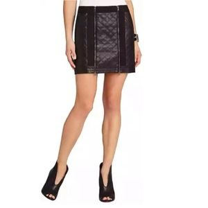 BCBGMaxazria Quilted Faux Leather Skirt