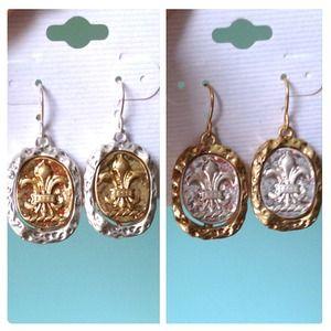 Artisan Fleur de Lis Earrings wax seal gold silver
