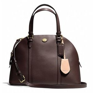 Coach Brown Peyton Cora Leather Domed Satchel