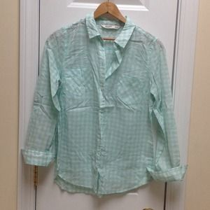 Old Navy Tops - Old Navy Gingham Turquoise Top