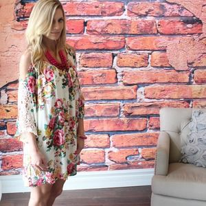 Floral crochet arm off the shoulder dress