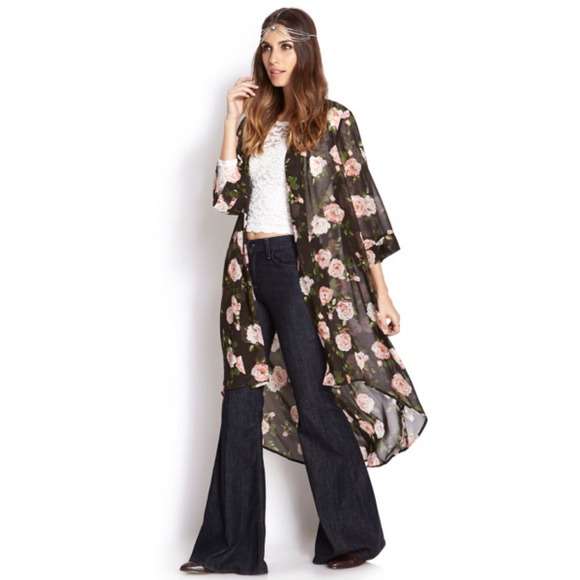 Forever 21 - Cabbage Rose Print Chiffon Cardigan from Hunter's ...