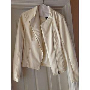 Cream/ivory faux leather jacket