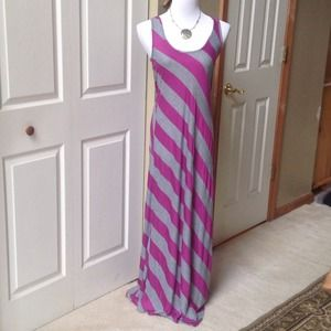 Purple/Gray Stripes Maxi Dress