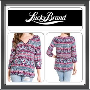 💯Authentic Lucky Brand Ikat Print Boho Top NWT