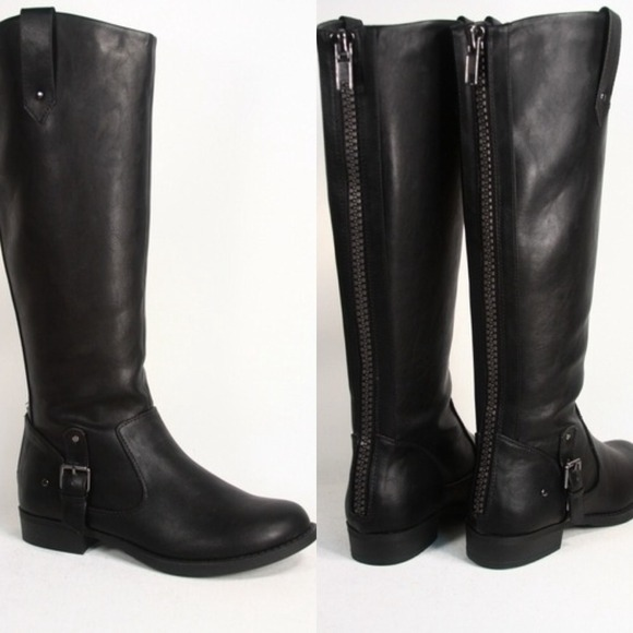 SODA - Black Zipper Back Tall Riding Boots Frye Inspired from ...