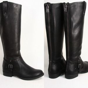 Black Zipper Back Tall Riding Boots Frye Inspired