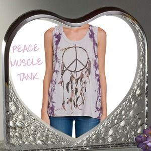 💯Authentic Chaser Purple Tie Dye Peace Tank
