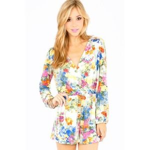 Flower Hour Killer Crossover Floral Print Romper
