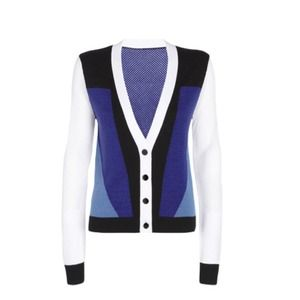 Peter Pilotto Cardigan in Blue/White Colorblock