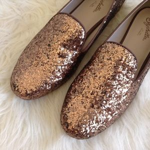 Anthropologie Shoes - Anthropologie gold stardust loafers